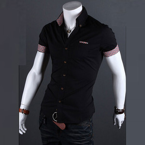 Wholesale Hot Sale Summer New Fashion Mens Casual Single Breasted Shirt Mens Short Sleeve Dress Shirts Summer Plaid Contrast Male Shirts