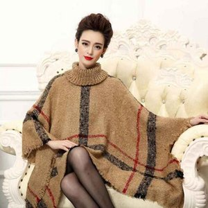 Wholesale Women s batwing knitted wool poncho Top Cardigan with collar Coat Beige ladies pashmina pullover big size Russia Style cape wrap