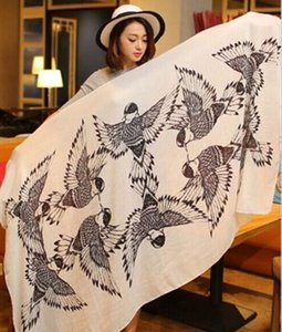 Wholesale cotton bird print shawl Scarf shawl Hijabs Scarves Sarongs wraps Neckerchief headband 170*100cm #3267