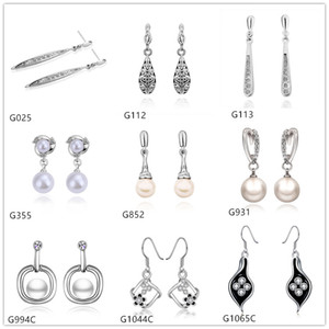 Wholesale 10 pairs mixed style women s drop pearl diamond crystal gemstone k white gold earring GTG1 white gold Dangle earrings