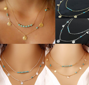 Simple Style Gold & Silver Plated Necklaces Multi Layered Chains Turquoise Beads Sequins Pendant Necklace Fine Jewelry