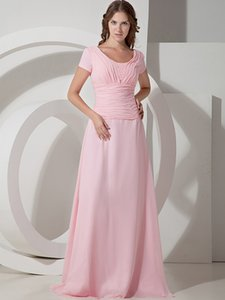 Wholesale scoop back bridesmaid dresses resale online - Beads Pink Chiffon Long Modest Bridesmaid Dresses With Short Sleeves Scoop Buttons Back Brides Maid Dresses Real Photos Maids of Honor Dress