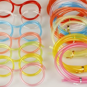 Wholesale Funny Soft Glasses Straw Unique Flexible Drinking Tube Kids Party Accessories Colorful Plastic Drinking Straws foir kids Cute glassess