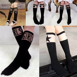 2016 New Baby Kids High Knee Socks School Cartoon Cat Lace Solid Stockings Leg Warmer For Girls C0557