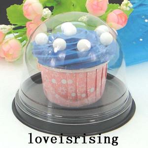 100pcs=50sets Clear Plastic Cupcake Box Favor Boxes Container Cupcake Cake Dome Gift Boxes Cake Box Wedding Favors Boxes Supplies