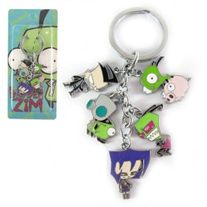 Wholesale Invader ZIM Keychain Metal Figures Pendants Key Chain Anime Cartoon Charms with Ring zinc alloy Hanging