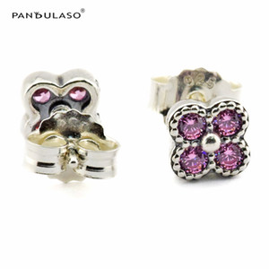 Wholesale Pink Oriental Blossom Stud Earrings With CZ Stone European Style Earrings Studs Fashion Jewelry Flower Earrings