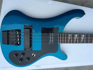 Custom 4 Strings Metallic Blue Electric Bass Guitar Black Hardware Triangle MOP Fingerboard Inlay, OEM China Guitars