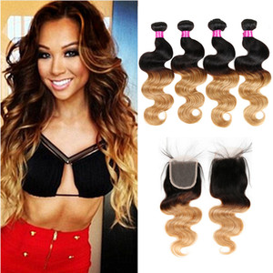 Wholesale blonde peruvian closure for sale - Group buy Peruvian Virgin Body Wave Hair Bundles Ombre Hair Bundles With Closure Blonde Lace Closure With Bundles B Human Hair Extensions