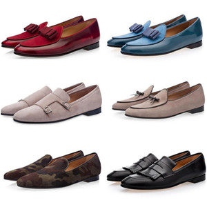 Wholesale Men Blue Brushed Navy Belgian Loafers Khaki Beige Silk Navy Bow Mortimer Flats Male Dress Wedding Polished Leather Shoes Slippers