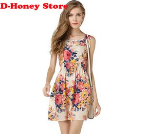 Wholesale 2016 summer autumn new Korean Women casual Bohemian floral leopard sleeveless vest printed beach chiffon dress vestidos