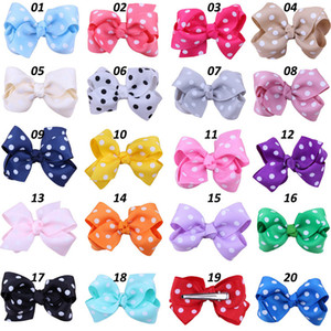Wholesale 20 colors Cute Polka Dots Girls Hairclips Korean Style Bowknot Kids Hair Barrettes Bow Children Hairwear Kids Baby Hair Accessories SEN211