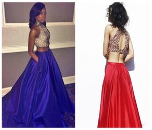 2016 New High Collar Evening Dresses Luxurious Beaded Two - Piece Long Quinceanera Prom Dress Sexy Halter Pageant Dress Plus Size on Sale