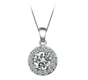Wholesale 925 Silver Plated Necklace Round Big Crystal Cubic Zirconia Pendant Necklaces with Chian Fashion Jewelry for Lovers Valentine s Day Gift
