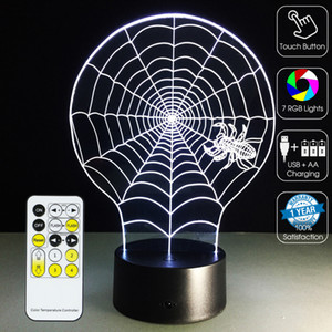Wholesale Spider Web D Optical Lamp Night Light RGB Lights Dimmable DC V Battery IR Remote Control Retail Box