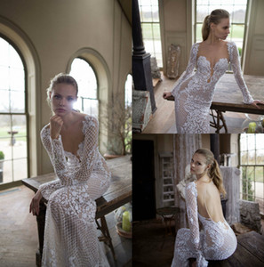 Wholesale Berta Wedding Dress Free Shipping V Neck Long Sleeve Sexy Back Bridal Gowns Tulle Applique Floor Length Illusion Wedding Dresses