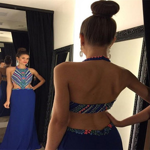 2017 Simple Crystals Beaded Prom Dresses Halter Sleeveless A Line Open Back Cutaway Side Long Chiffon Luxury Evening Dresses Custom Made on Sale