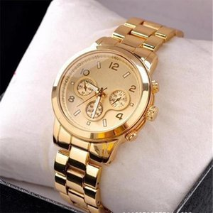 Wholesale 2016 New Fashion Classic style Watch Gold Color Mens Watches casual Luxury Hot Selling Ladies Watch Steel Women Dress quartz Watches