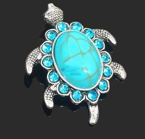 Wholesale Cute Turtles D rhinestone metal snap button for Bracelet Necklace Jewelry For Women Fashion accessories Charms