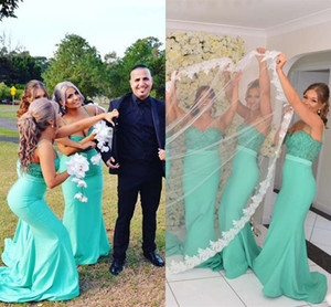 Wholesale Mint Green Mermaid Bridesmaid Dresses Sweetheart Spaghetti Straps Lace Bodice Satin Backless Wedding Guest Dresses Sexy Prom Dresses