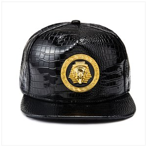 ägypten pharao großhandel-New Gold Ägypten Pharao Baseballmütze PU Leder Hip Hop Punk Style Flat Krempe Hysteresenhut Männer Frauen Cool Boy Fashion Caps