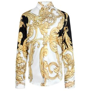 Wholesale HOT 2017 Autumn winter Harajuku Medusa gold chain Dog Rose print shirts Fashion Retro floral sweater Men long sleeve tops shirts
