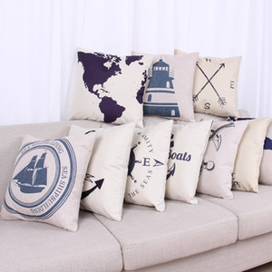 Wholesale Anchor pillow cover Navigation mark cartoon Rudder Anchor world map Sailing throw pillow case pillowcase BY DHL