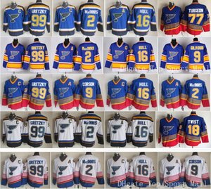 Wholesale St Louis Blues Jerseys Ice Hockey Vintage 16 Brett Hull 99 Wayne Gretzky 2 AL MacINNIS 9 Shayne Corson 9 Doug Gilmour blue white