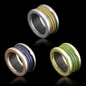 Wholesale Fashion Blue Green Brown Resin whorl rings Yellow gold Rose Gold Silver Metal Colors Women Mens Titanium stainless steel Jewelry