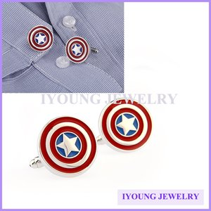 Wholesale Classic Movie Image Captain America Superhero Cufflinks Sleeve Nail Men French Shirt Button Round Enamel Cuff Link Wedding Dress Party Gift