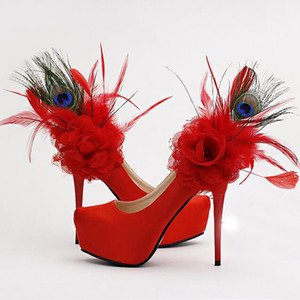 2019 Fashion Red Floral Feather Bridal Shoes Fashion Utra High heel Platform Dress Pumps Women's shoes For Wedding Party Shoes