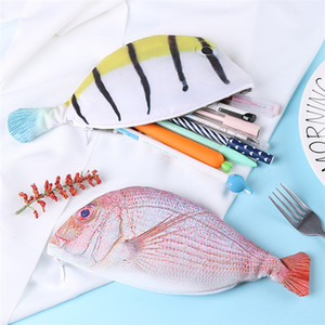 New 4 styles Unique Sea Fish Shaped Pencil Bag Korea personality pencil box Student supplies Stationery bag IA797