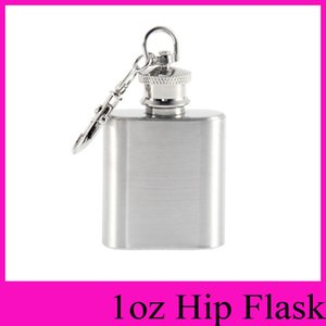 Wholesale 1OZ empty oil bottle Hip Flask keychains Keychain oz Stainless Steel Liquor Alcohol winebottle Pocket Hip Flasks Key chains