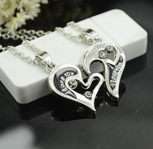 Wholesale letters puzzle resale online - Part Heart Necklace Silver Puzzle Necklace Heart Love Letter Silver Plated Pendant Pendant Gift For Friend Christmas Gift