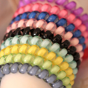 Wholesale Fashion Black Colorful Girl Women Telephone Line Elastic Hair Bands Hair Spring Rubber Hair rope ties Diameter Pony Tails Holder