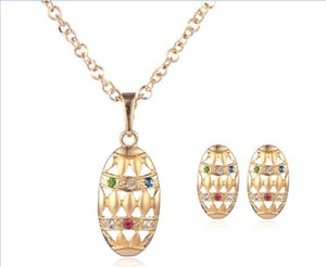 European fashion retro luxury dinner earrings with gold plated necklace for girl friend jewerly set gifts free shipping