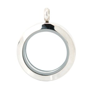 Wholesale stainless steel magnet glass locket resale online - 25mm magnet plain stainless steel Memory living glass locket pendant glass locket floating charms for floating charms