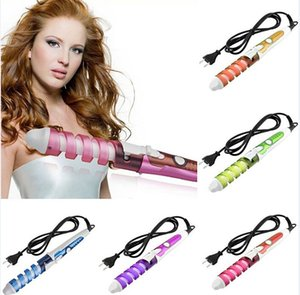 Wholesale 100 V Electric Magic Hair Styling Tools Brush Hair Curler Roller Pro Spiral Curling Irons Wand Curl Styler Beauty Tool IN STOCK
