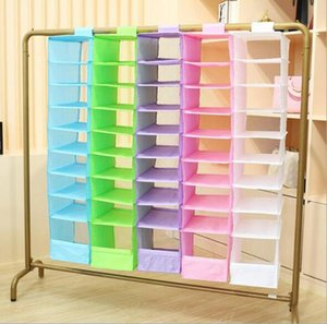 Wholesale Storage Boxes Bins Cell Hanging Box Underwear Sorting Clothing Shoe Jean Storage Mails Door Wall Closet Organizer Closet Organizador Bag