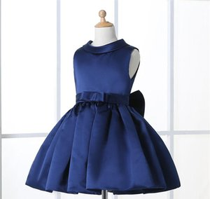 Wholesale Navy Blue Flower Girl Dresses For Weddings Elegant Knee Length Crew Neckline Cap Sleeve Custom Kids Formal Wear Elastic Satin Dress Age