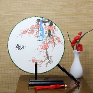 Scenic Round Fan Double-sided Silk Printing Fan Present Home Decoration Fan Ornaments