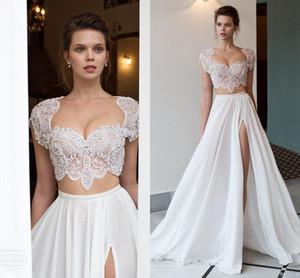 2021 White Wedding Dresses Riki Dalal 2 Pieces with Cap Sleeves Crystal Beads Split Long Chiffon Bohemian Beach Bridal Gowns