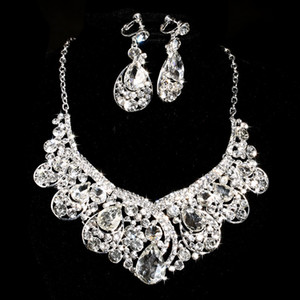 Wholesale Brand Design Crystal Bridal Jewelry set 925 silver plated necklace diamond earrings Wedding jewellery sets for bride Bridesmaids women