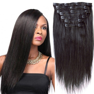 New Arrival Brazilian Human Hair Weave Clip In Human Hair Extensions Brazilian Virgin Hair Clip On Human Bundles 7,8,10pc set