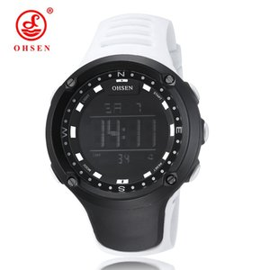 New Arrival OHSEN Brand Fashion LCD Digital Mens Watches Rubber Band 50M Waterproof White Big Dial Sport Military Wristwatches Orologio Uomo