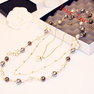 Luxury Korean Designer multilayer Necklace & Pendant Pearl Chain Necklace for Women Sweater Blouse Costume Jewelry