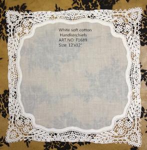 "Home Textiles New French style lace edges 12PCS lot 12""x12""white 100% Fine cotton lace edging Ladies Handkerchiefs Best quality for bride"