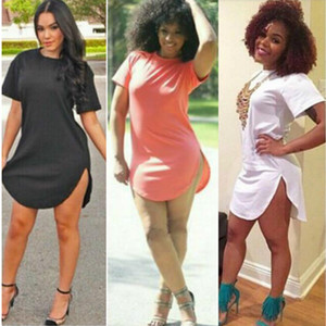 Wholesale Women Summer Sexy Bandage Bodycon Part Short Sleeve Cotton Tshirt Dress Plus Size Night Club Party Summer Casual Dresses Vestidos S XL