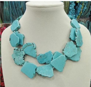 New Arrive Turquoise Slice Stone Choker Necklace Handmade Woman Gift 2 Layer on Sale