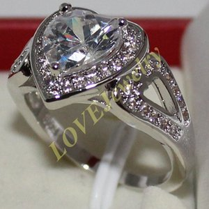 Wholesale Size Lady s Silver Heart cut Simulated Diamond Statement CZ Side Stone Wedding Ring Jewelry for Women